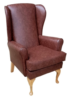 Fast Delivery Monty High Back Wing Chair Mahogany Vinyl