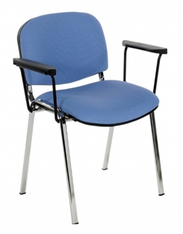 F1CARMS Stackable Chair With Arms - Chrome Frame
