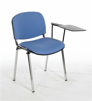F1CT Stackable Vinyl Chair - One Arm & Writing Tablet - Chrome Frame