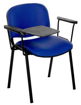 F1BAT Stackable Chair - Two Arms & Right-Hand Writing Tablet - Black Frame