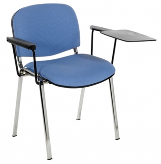 F1CAT Stackable Chair - Two Arms & Left-Hand Writing Tablet - Chrome Frame