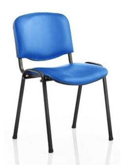 Vinyl Stacking Chair Black Frame Blue Vinyl