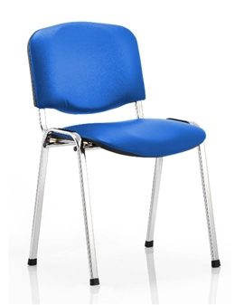 Vinyl Stacking Chair Chrome Frame Blue Vinyl