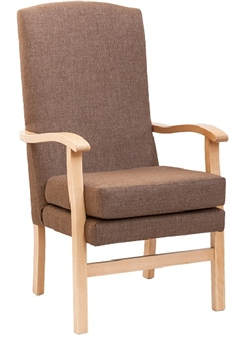 Bella High Back Chair in Panaz Highland Dove Fabric