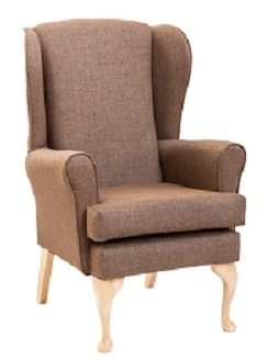 Monty High Back wing Chair in Panaz Highland Dove Fabric