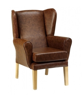 York High Back Wing Chair Antique Mahogany Vinyl
