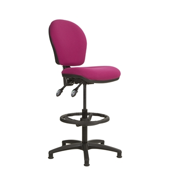 Ascot Medium Back Draughtsman Chair - Black Nylon Footring
