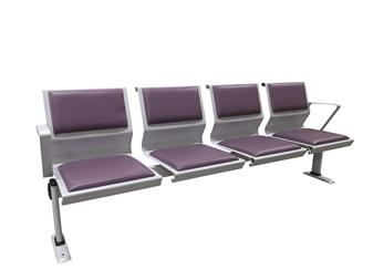 Tala Metal Beam With Upholstered Seats & Back With Arms & Floor Fixed Legs