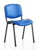 Vinyl Stacking Chair Black Frame Blue Vinyl