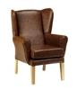 York High Back Wing Chair Antique Mahogany Vinyl